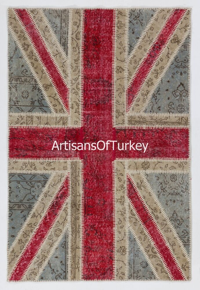 Union Jack British Flag Patchwork Rug Made From Overdyed