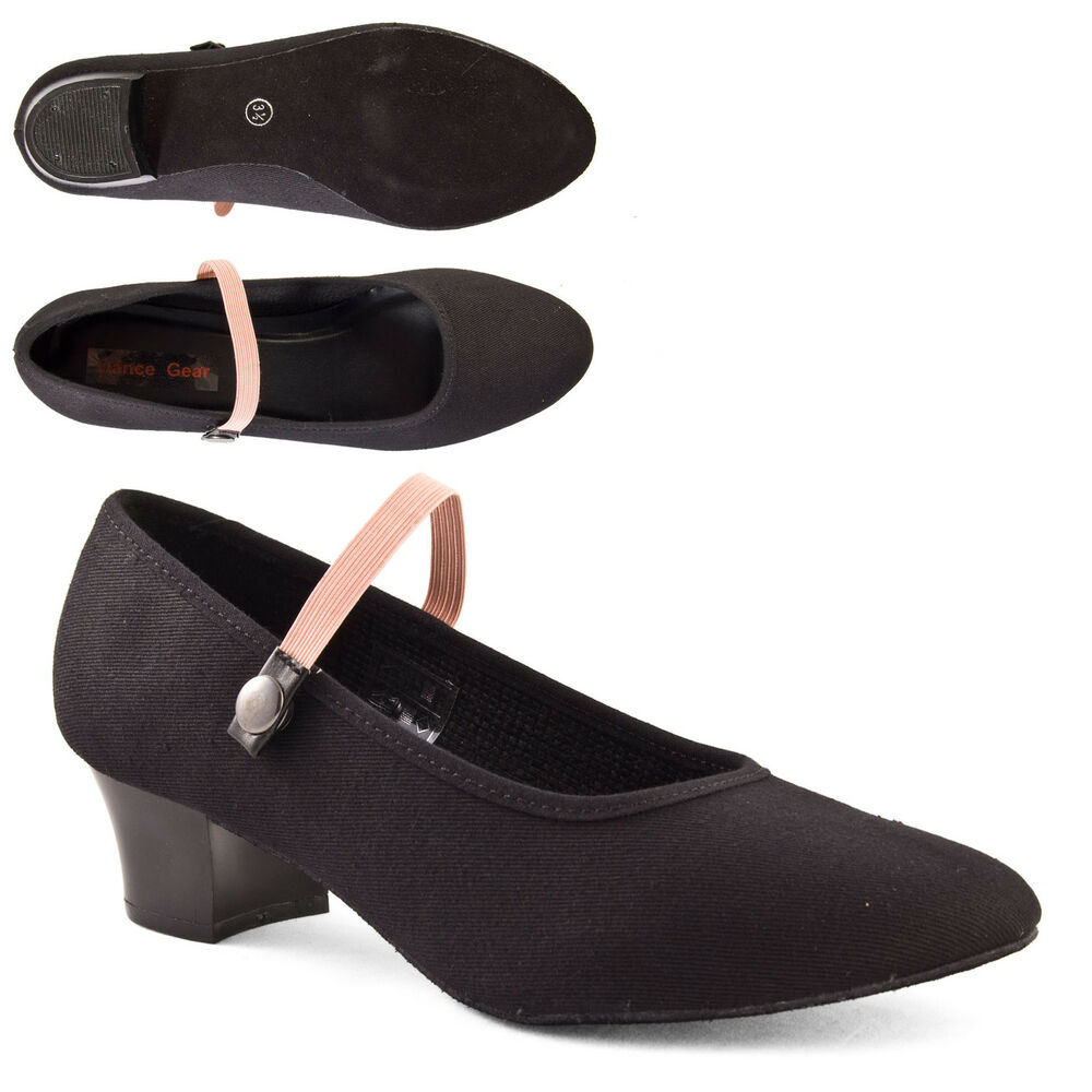 black cuban heel canvas character shoes syllabus by
