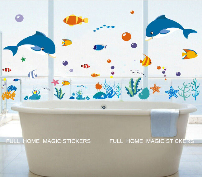 bathroom decals for kids reusable blue dolphin amp fish bathroom wall stickers 15776
