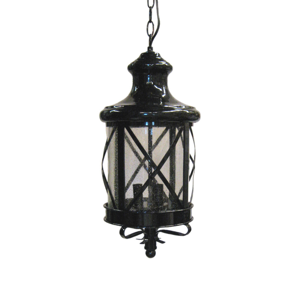 Black Exterior Hanging Light With Clear Seeded Glass EBay