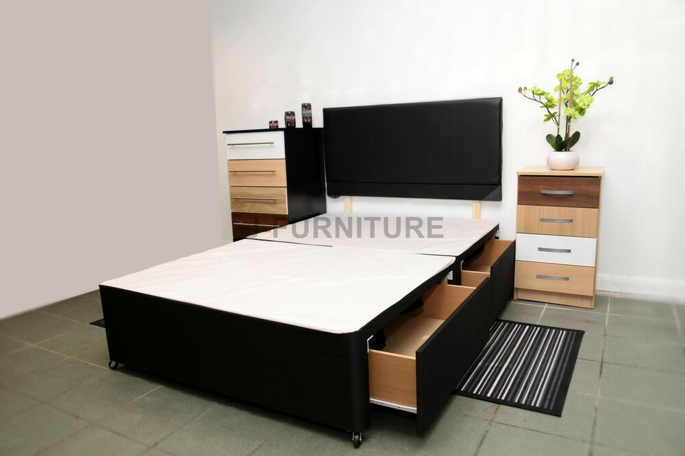 Single double divan base all sizes cream black white for White double divan bed