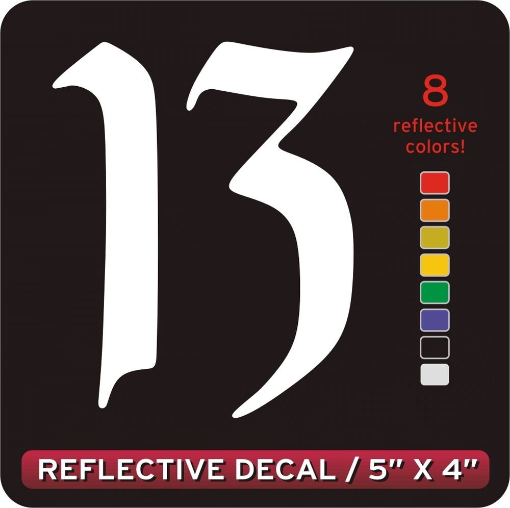 Lucky Number 13 Reflective Decal Sticker White Ebay