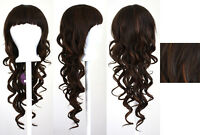 28'' Long Curly Layered Cut Chocolate Mocha Brown Mix Synthetic Cosplay Wig NEW