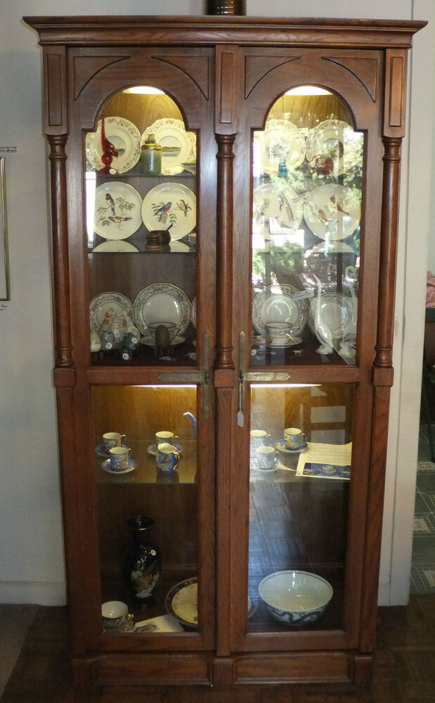 oak curio cabinet ebay lighted corner curio cabinet white lighted corner curio cabinet