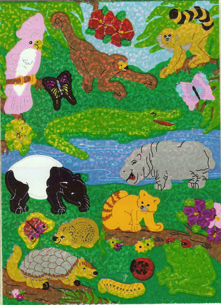 Sandylion vintage glittery exotic jungle animals stickers for Classic jungle house for small animals