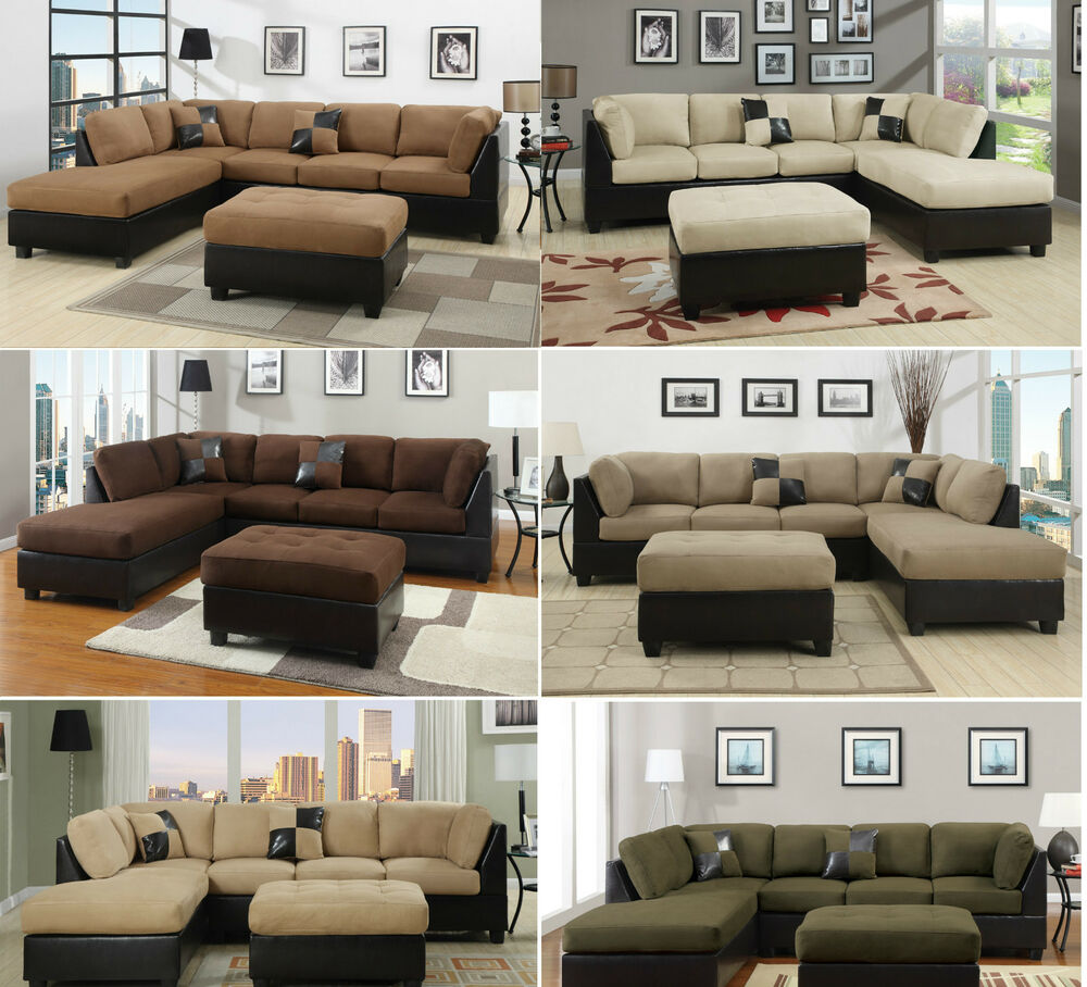 Couches Or Sofa: Sectional Sofa 3pcs Microfiber Sectionals Sofa In 6 Colors