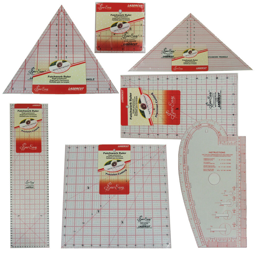 Sew Easy Quilters Craft Patchwork Square Rectangle Ruler