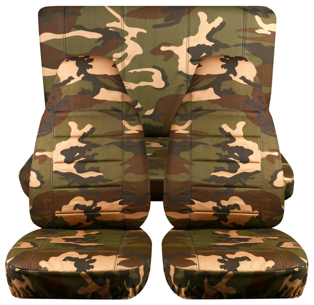 jeep wrangler yj army camo 31 front rear car seat covers cotton material ebay. Black Bedroom Furniture Sets. Home Design Ideas