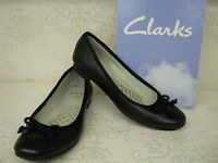 Clarks Carousel Ride Black Leather Slip On Ballerina Style Shoes