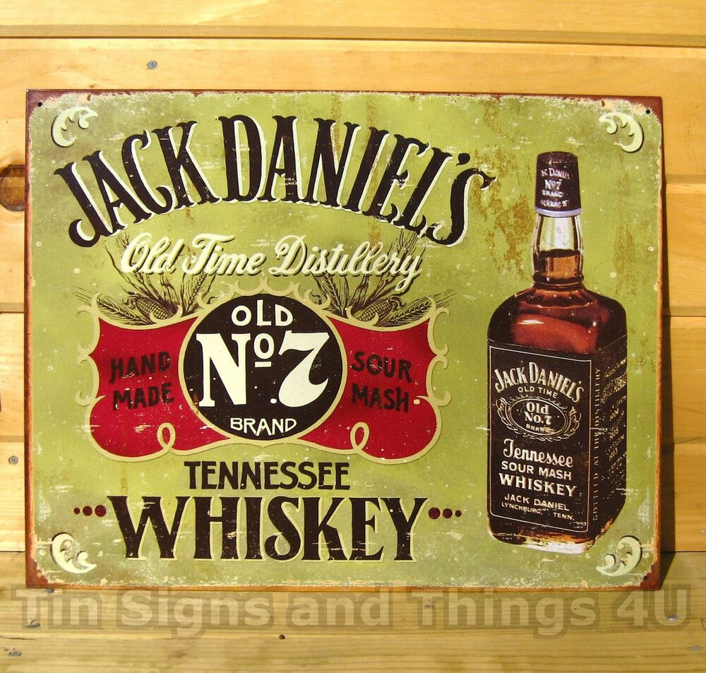 Jack Daniels Whiskey LICENSED TIN SIGN REPRODUCTION metal wall decor ...