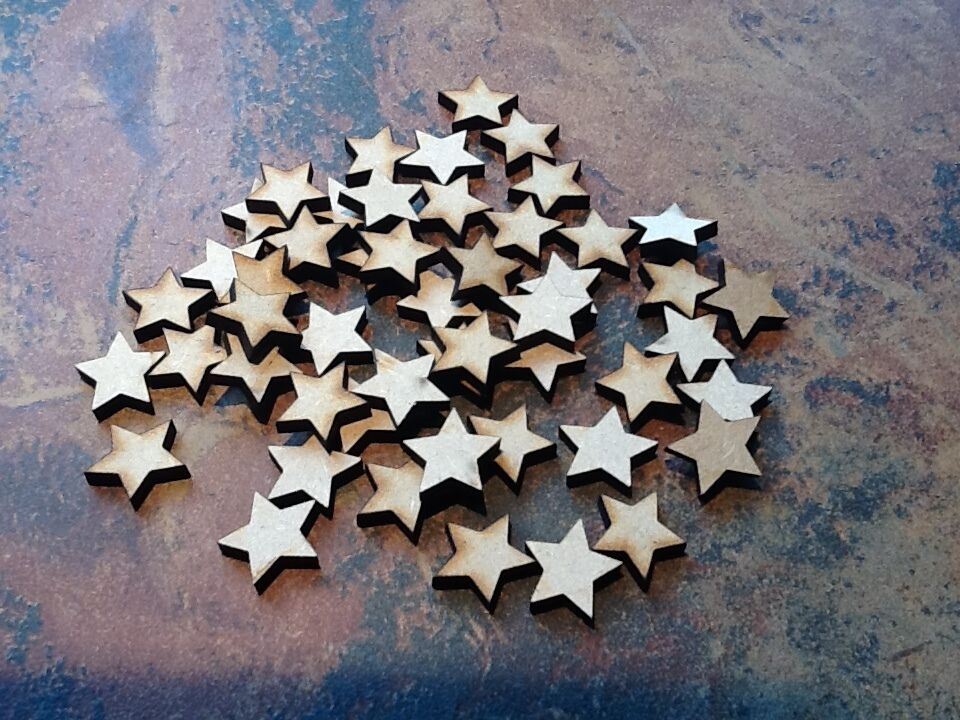 50x wooden star shapes laser cut mdf blank embellishments