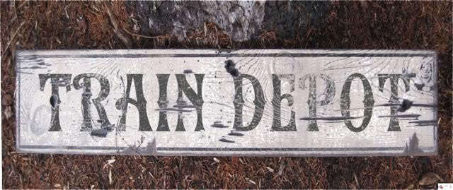 Train Depot Rustic Painted Wooden Sign Ebay