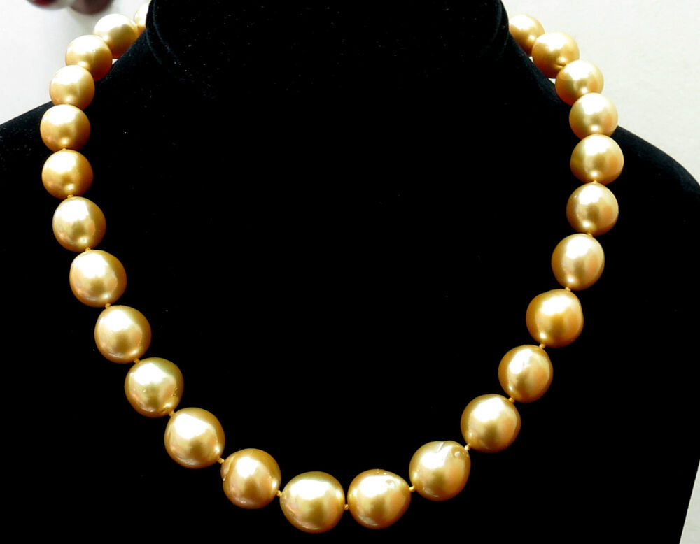 18000 18kt 13m Natural South Sea Yellow Pearls Necklace