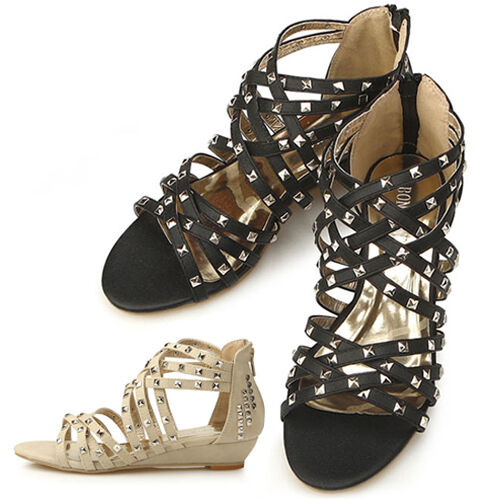New Low Heels Stud Gladiator Womens Summer Sandle Shoes