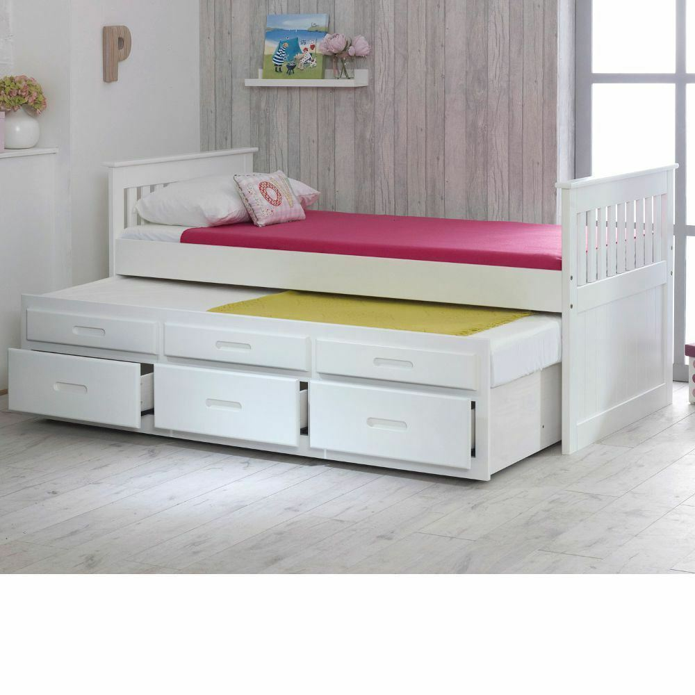 Single Bed Pine Captain Childrens Storage Underbed Drawers