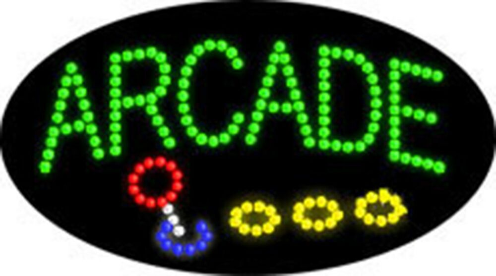 """OPEN LED SIGN """"ARCADE"""" OPEN GAMES 21""""x12"""" Prizes Business ..."""