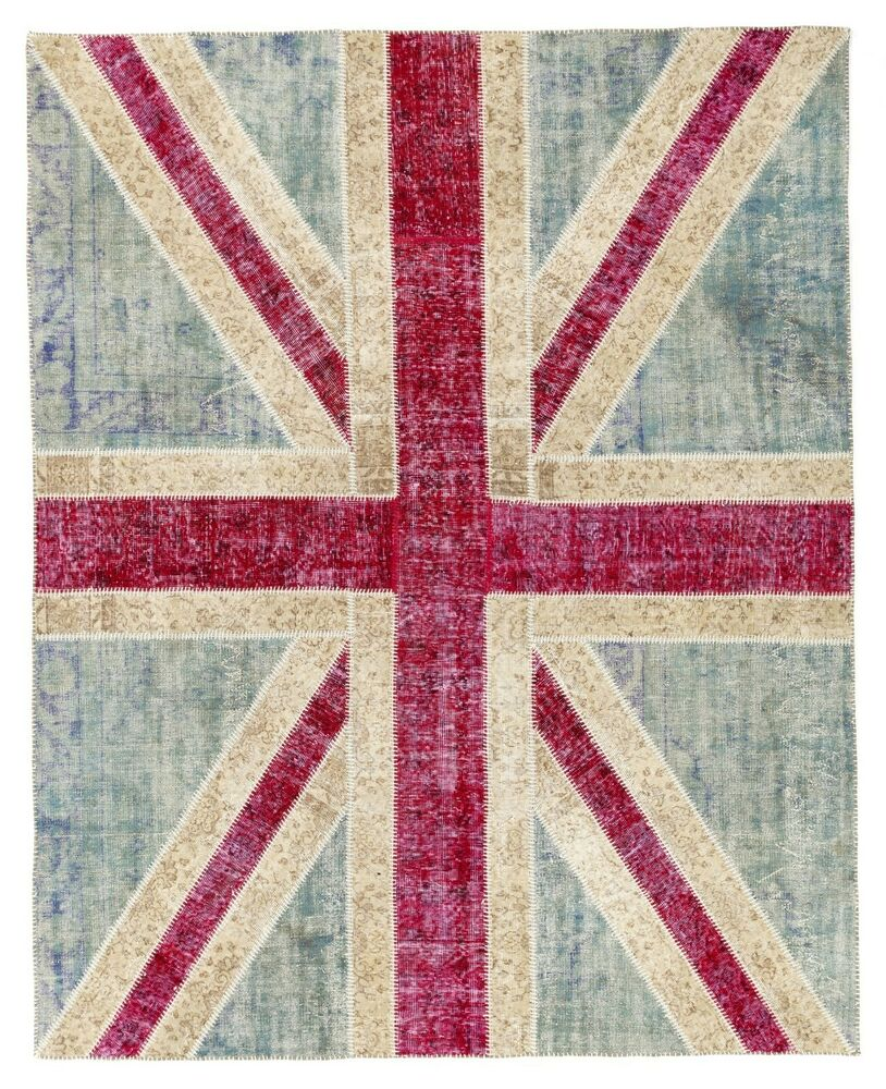 Union Jack British Flag Design PATCHWORK RUG Handmade From