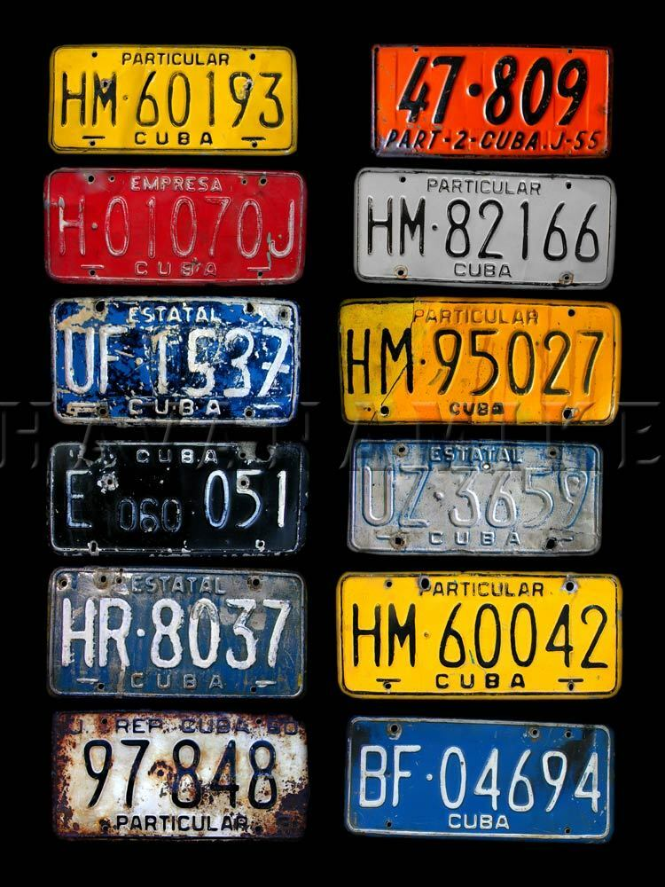 Old CUBAN Cigar Car VINTAGE LICENSE PLATE Tags Antique