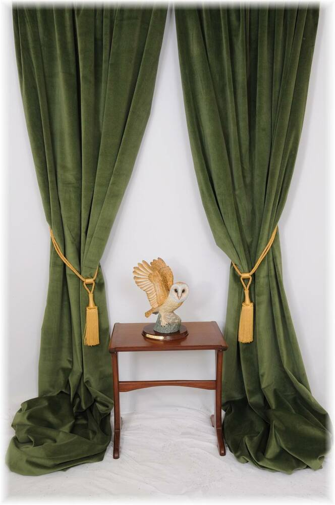 Superb Forest Spruce Green Velvet Curtains Bespoke