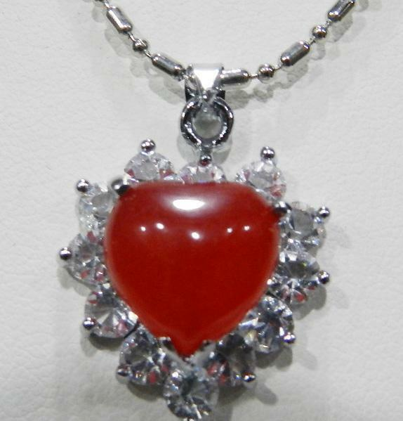 Charming Red Ruby Amp Crystal Heart Shaped Pendant Necklace