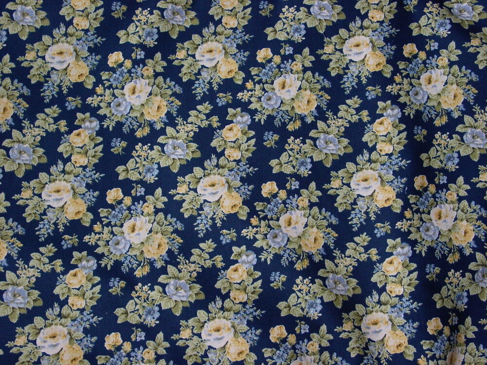 New Custom Valance S Blue Yellow Navy Blue Floral Lined Ebay
