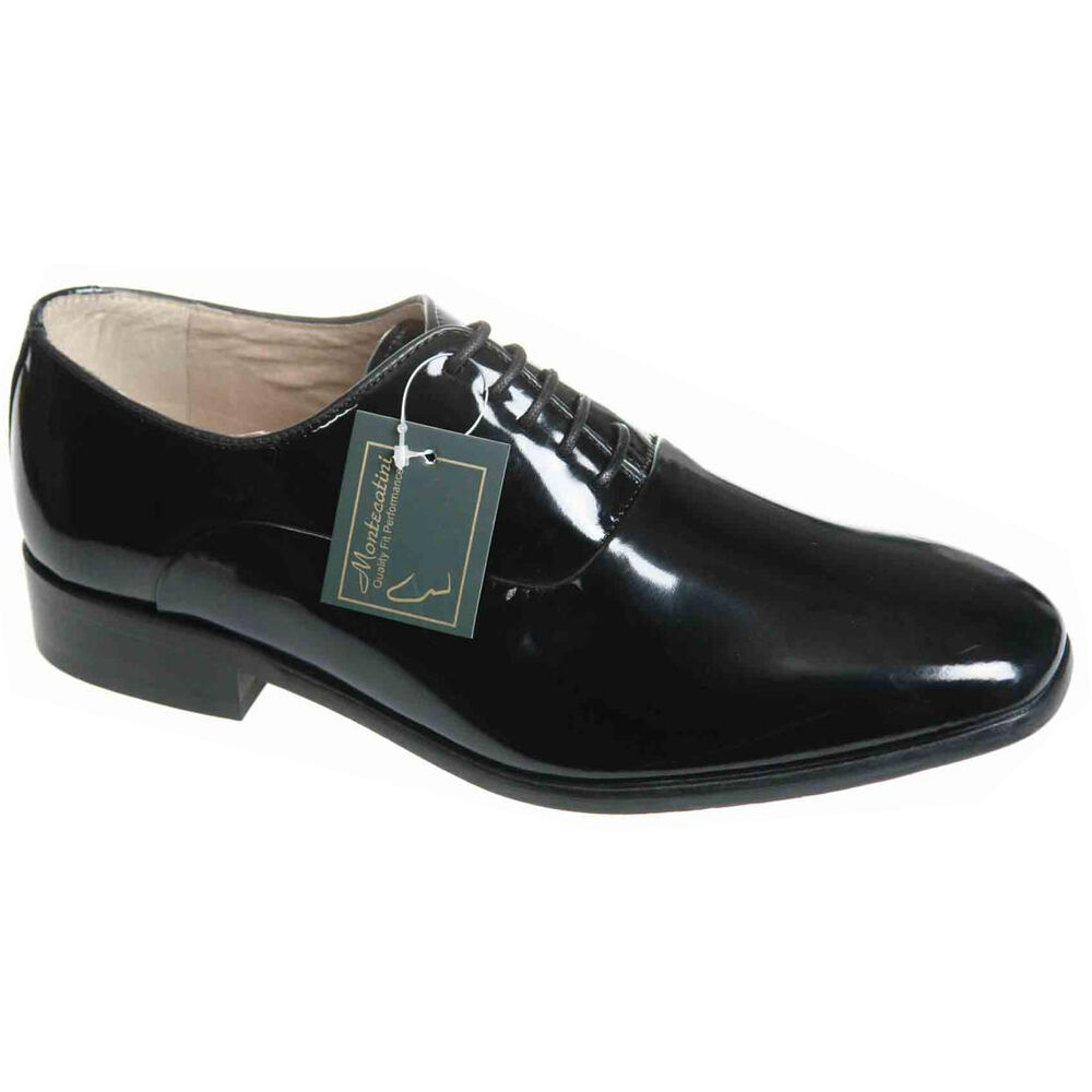 mens black leather lace up patent wedding formal shoes
