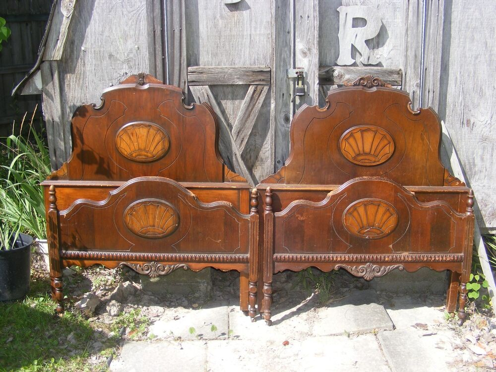 Antique bedroom set 1926 twin beds dresser box springs for Antique bedroom furniture