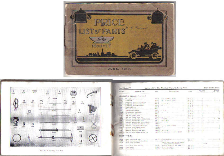 Ford Model A Parts List : Ford model t  original uk illustrated spare parts