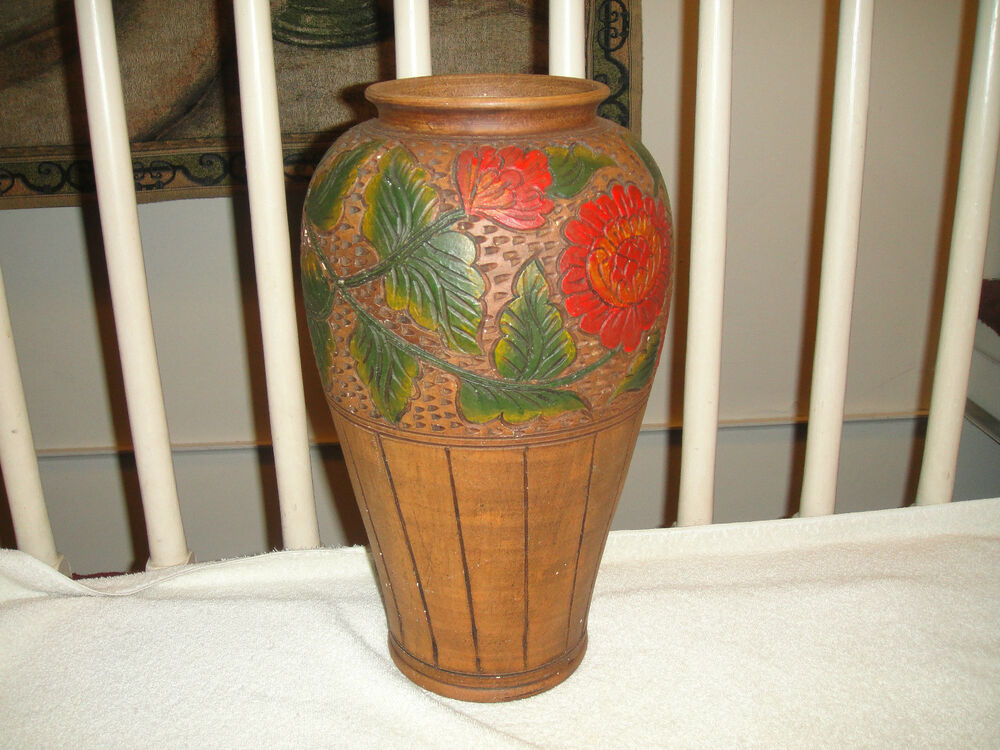 Vintage pottery vase w floral painted designs large vase for Big pot painting designs