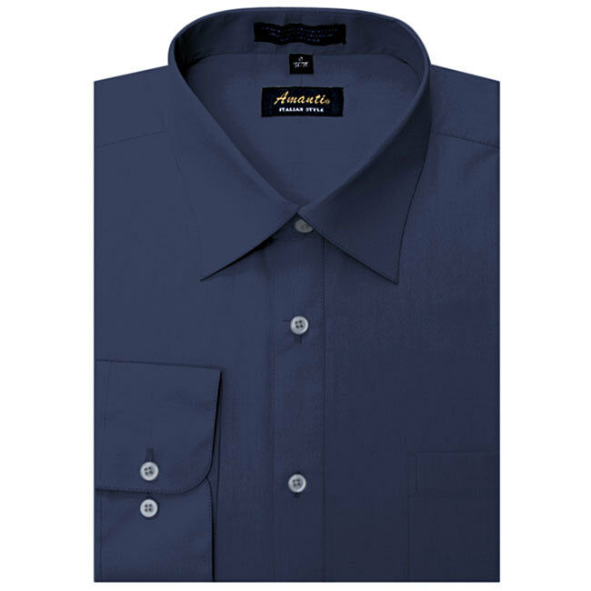 Mens dress shirt plain navy blue modern fit wrinkle free for How do wrinkle free shirts work