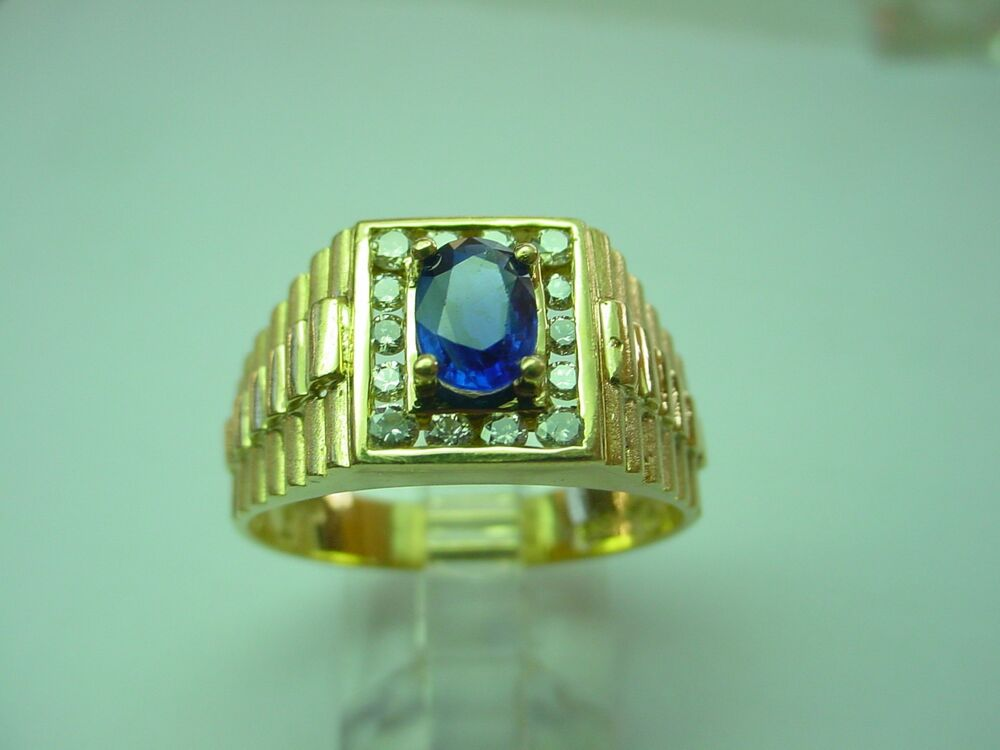 14 KARAT Y/GOLD RING W/ OVAL SHAPE NATURAL BLUE SAPPHIRE ...