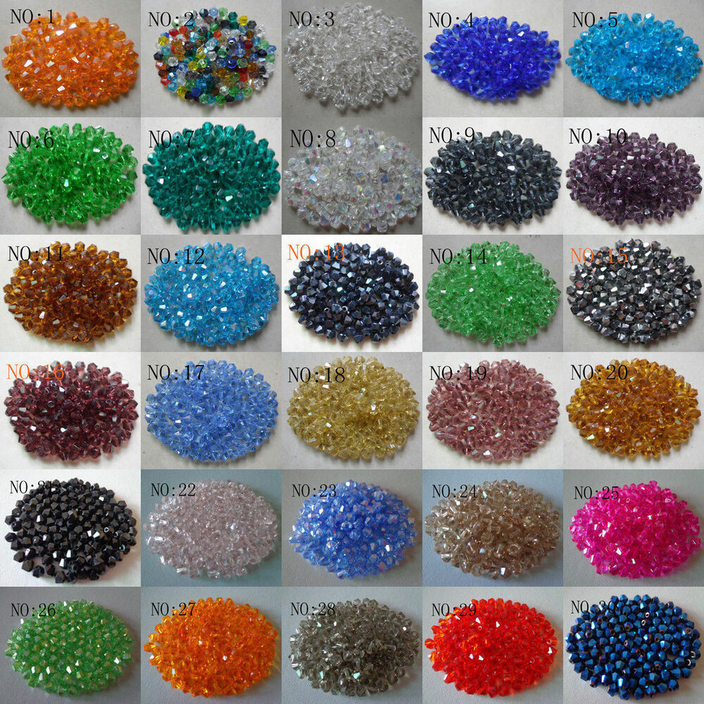 Crystal Bead Beads: Wholesale 100pcs Glass Crystal Faceted Bicone Lampwork