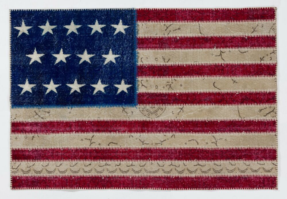 American Flag Design Patchwork Rug Made From Overdyed