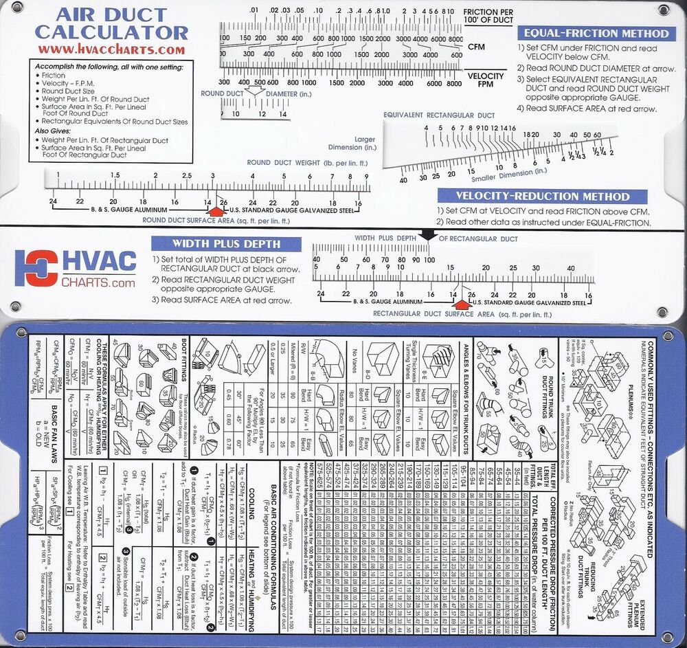 Air Duct Sizing Calculator Slide Chart Hvac Ductulator