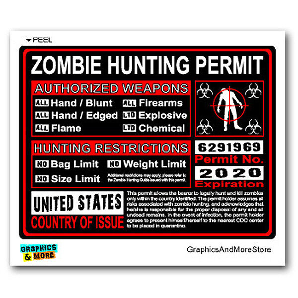 United states us zombie hunting license permit red for Buy ohio fishing license