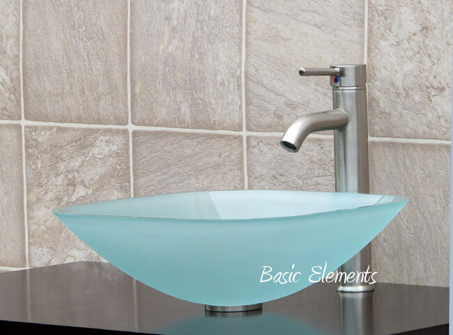 New 12 Modern Contemporary Bathroom Faucet Vessel Sink: Bathroom Glass Vessel Sink Frosted Square + Brush Nickel