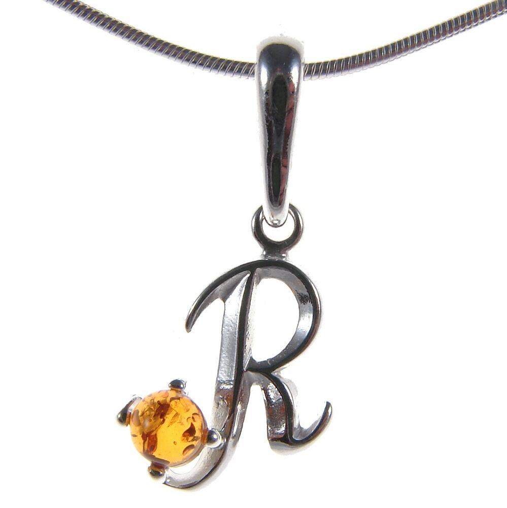 Alphabet Jewelry: BALTIC AMBER STERLING SILVER 925 ALPHABET LETTER R PENDANT