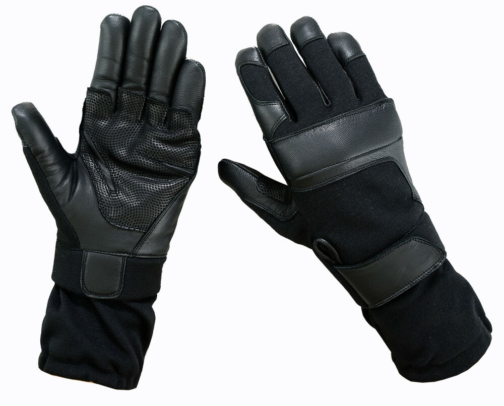 Black leather combat gloves - Tactical Combat Long Cuff Nomex Operating Shooting Gloves Black Green Tan