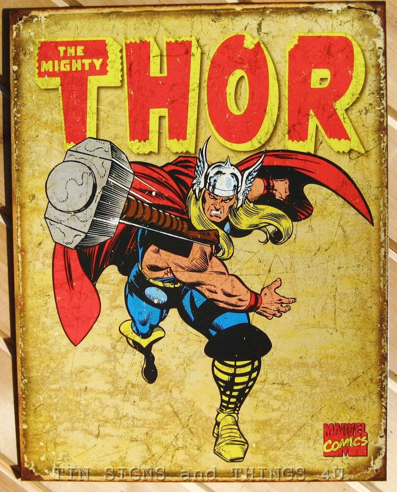 Mighty Thor Retro TIN SIGN poster metal wall decor marvel comic ...