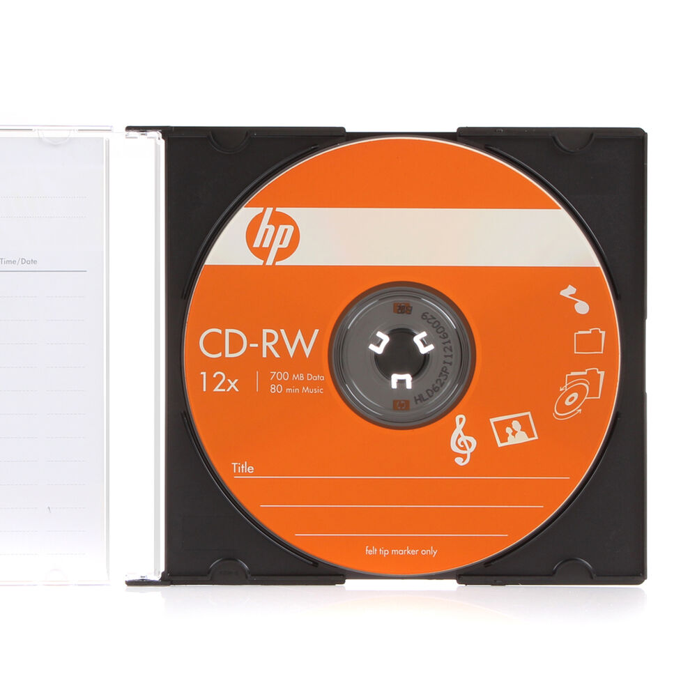2 pk hp logo 4 12x blank cd rw cdrw rewritable disc in slim jewel case ebay. Black Bedroom Furniture Sets. Home Design Ideas