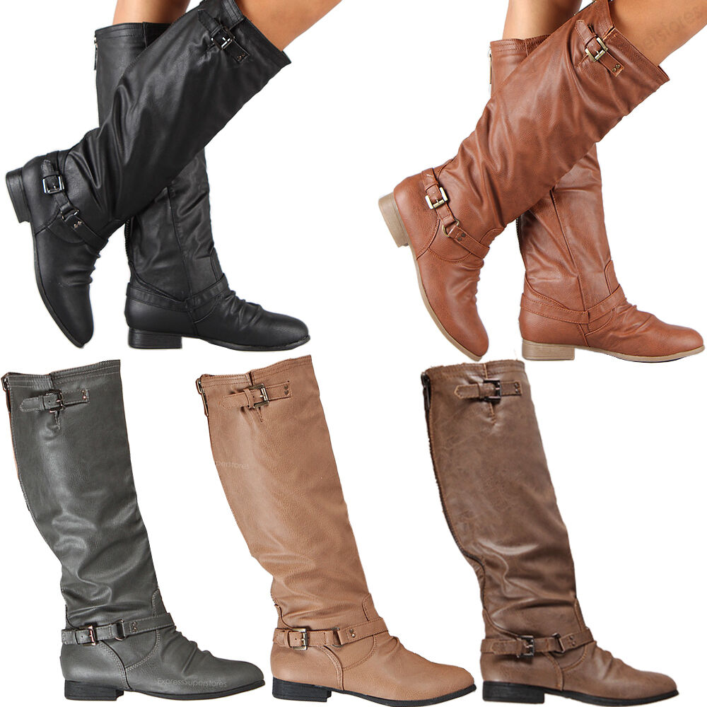 womens riding boots knee high fashion slouch faux leather hot stylish shoes size ebay