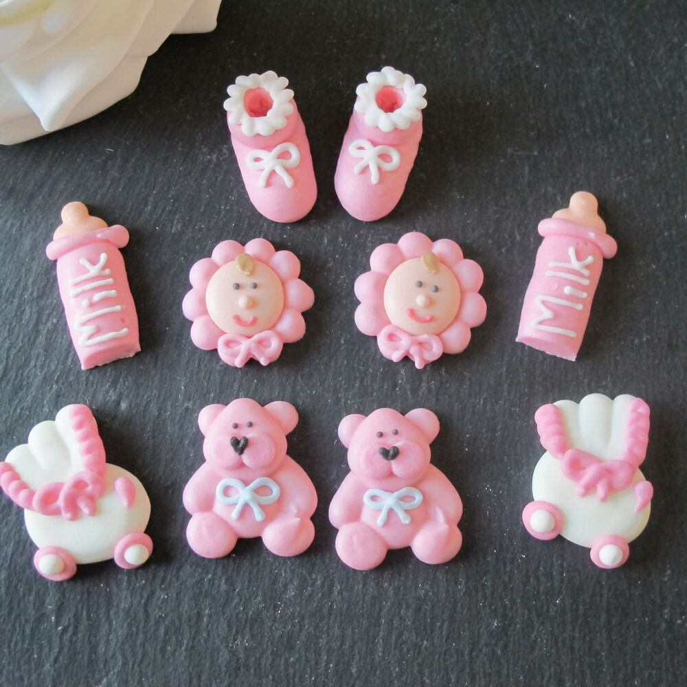 10 pink iced baby girl christening baby shower cupcake for Baby shower cupcake picks decoration