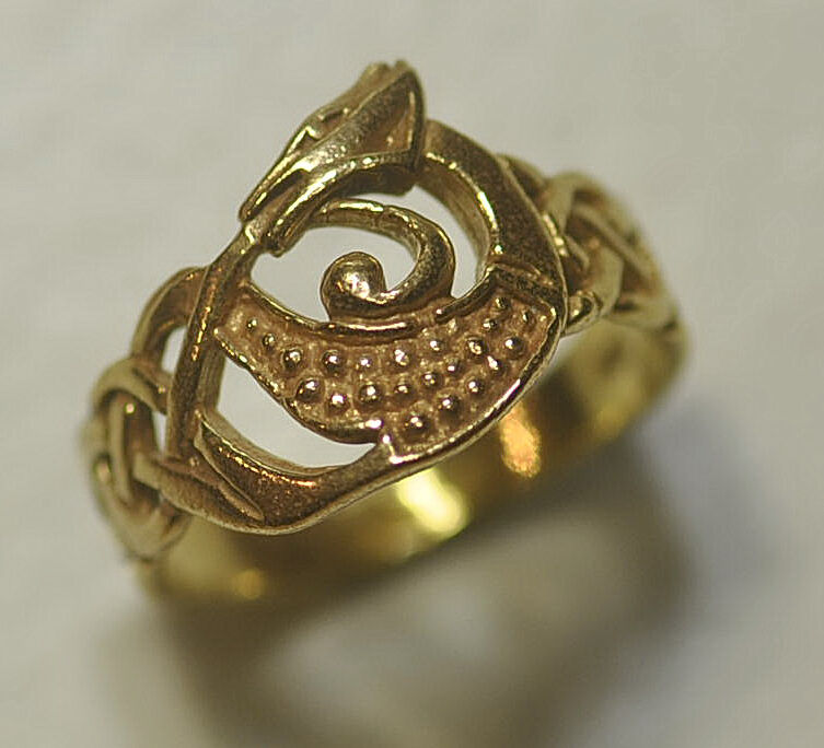 New genuine 10k yellow gold celtic dragon ring infinity for Infinity ring jewelry store