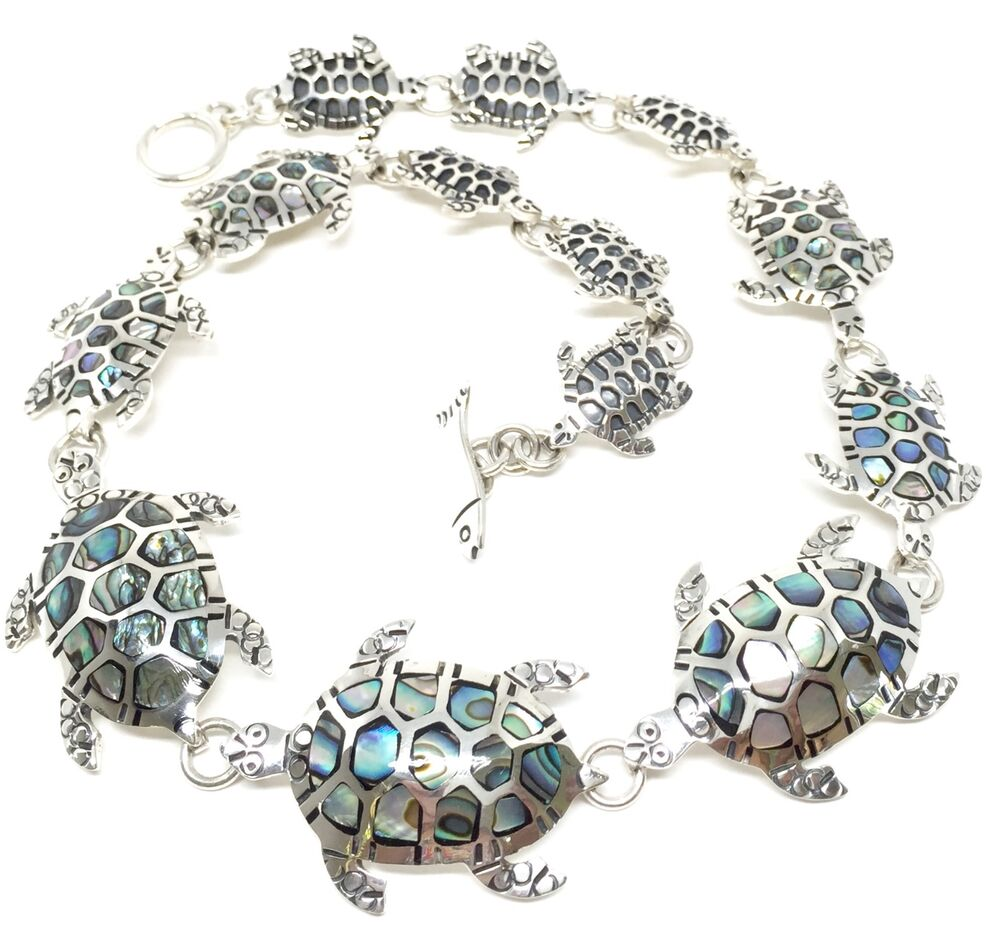 Taxco Mexican Sterling Silver Abalone Turtle Necklace