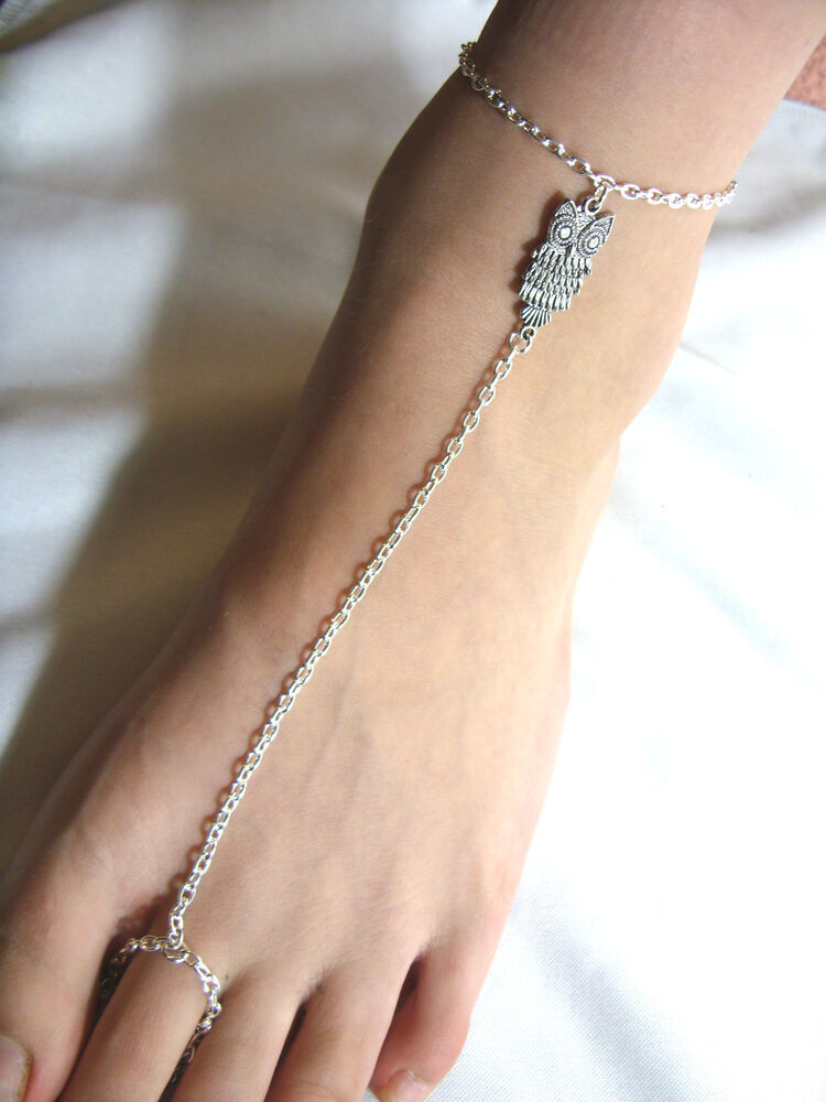 Silver Tone with * Owl * Charm Slave Chain Anklet, Ankle ...