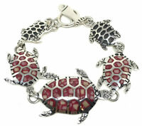 TAXCO MEXICAN STERLING SILVER CORAL TURTLE BRACELET MEXICO