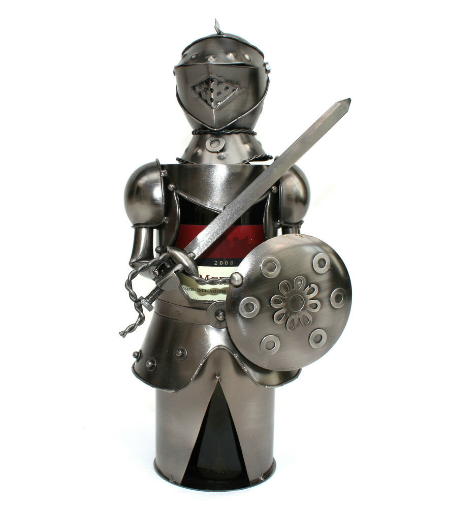 Knight metal wine bottle holder ebay - Wire wine bottle carrier ...