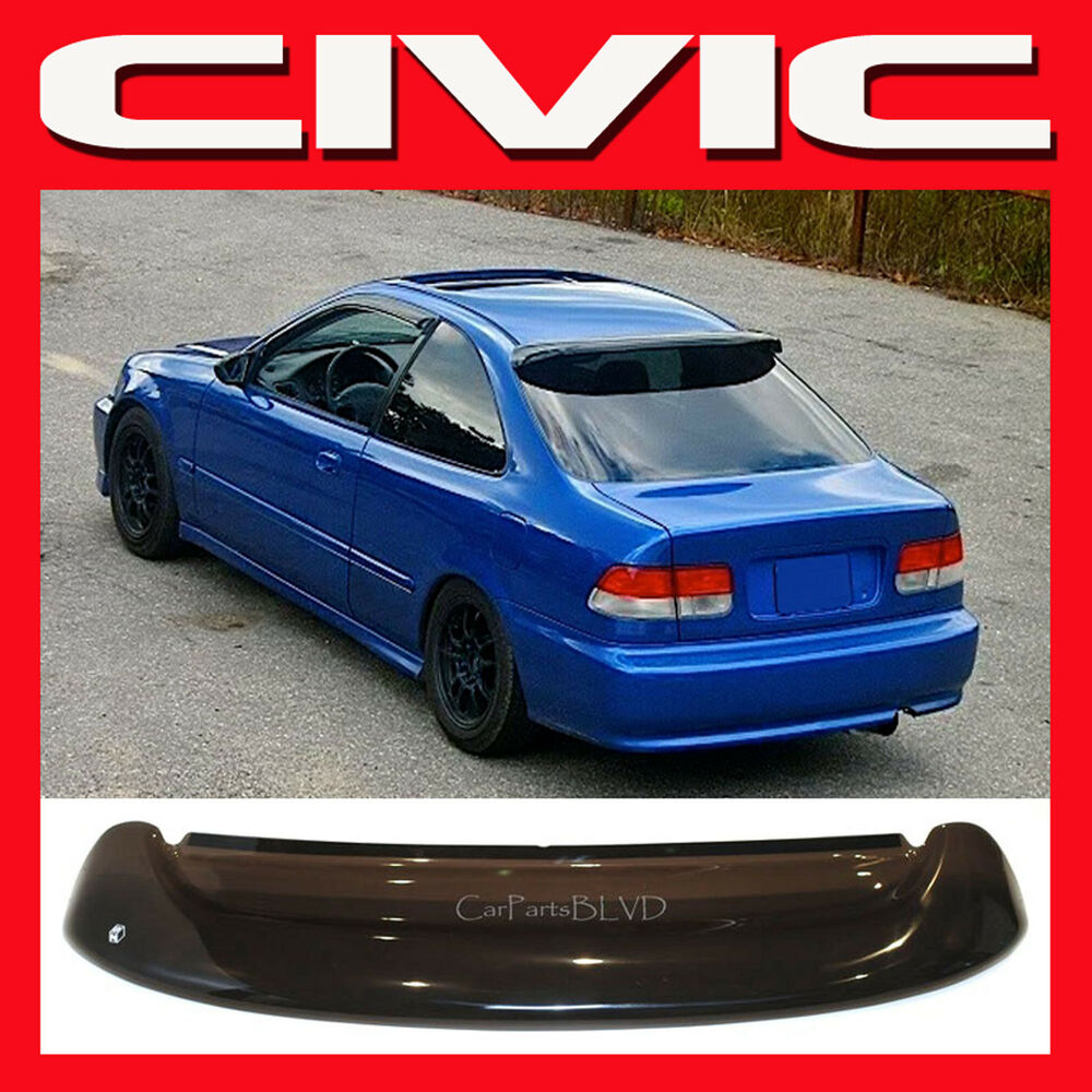 Jdm 2000 civic 2 door ek coupe roof window spoiler with for 2000 honda civic rear window visor