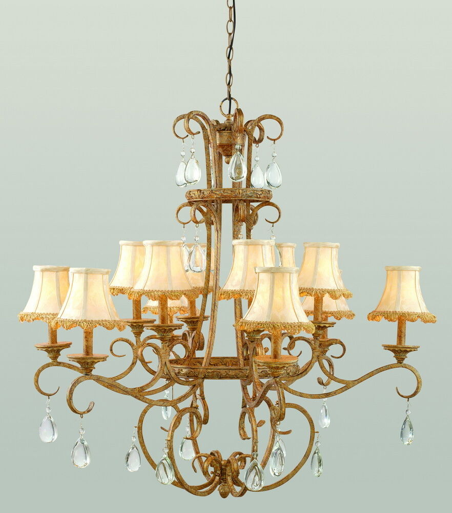 ANTIQUE GOLD 12 LIGHT CHANDELIER WITH CRYTSAL AND SHADES ...