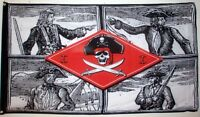 PIRATE CAPTAINS FLAG 5' x 3' Skull and Crossbones Jolly Roger Flags